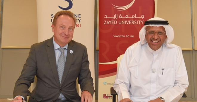 """جامعة """"زايد"""" و""""السوربون أبوظبي"""" توقعان مذكرة تفاهم للتعاون الأكاديمي والبحثي والتدريبي"""